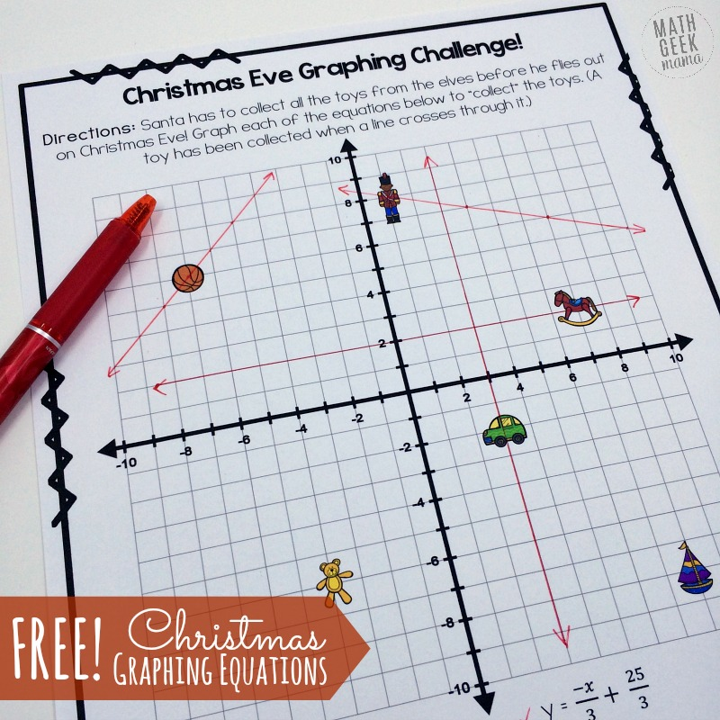 Christmas Challenge Graphing Linear Equations Practice