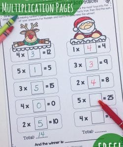 Looking for a fun and unique way to practice multiplication facts this Christmas? This challenge requires kids to find the missing factor in a race between Rudolph and Santa. Who will win? Get your free copy (includes 3 different challenges) to find out!