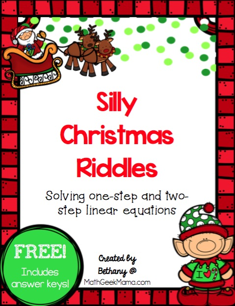 Solving Linear Equations Activity Pages Christmas Theme Free