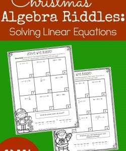 Christmas Algebra Riddles: Solving Linear Equations {FREE}