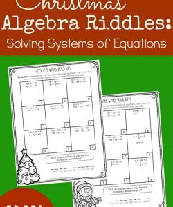 Christmas Algebra Riddles: Systems of Linear Equations {FREE}