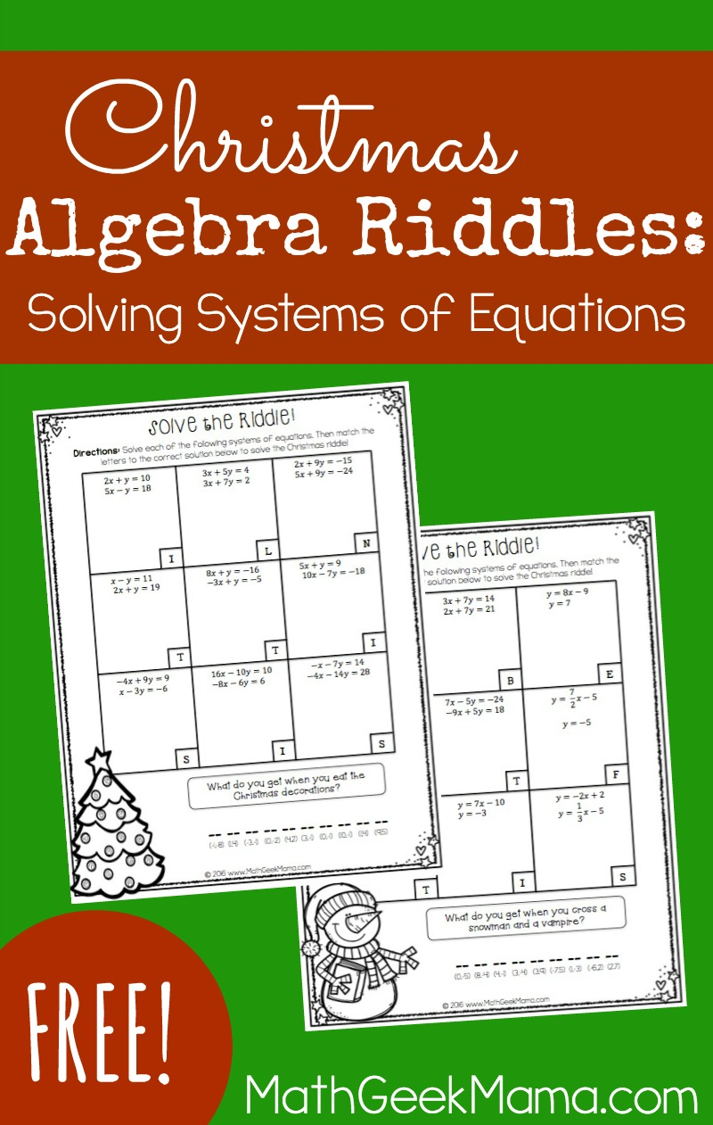 Christmas Riddles.Christmas Riddles Solving Systems Of Linear Equations