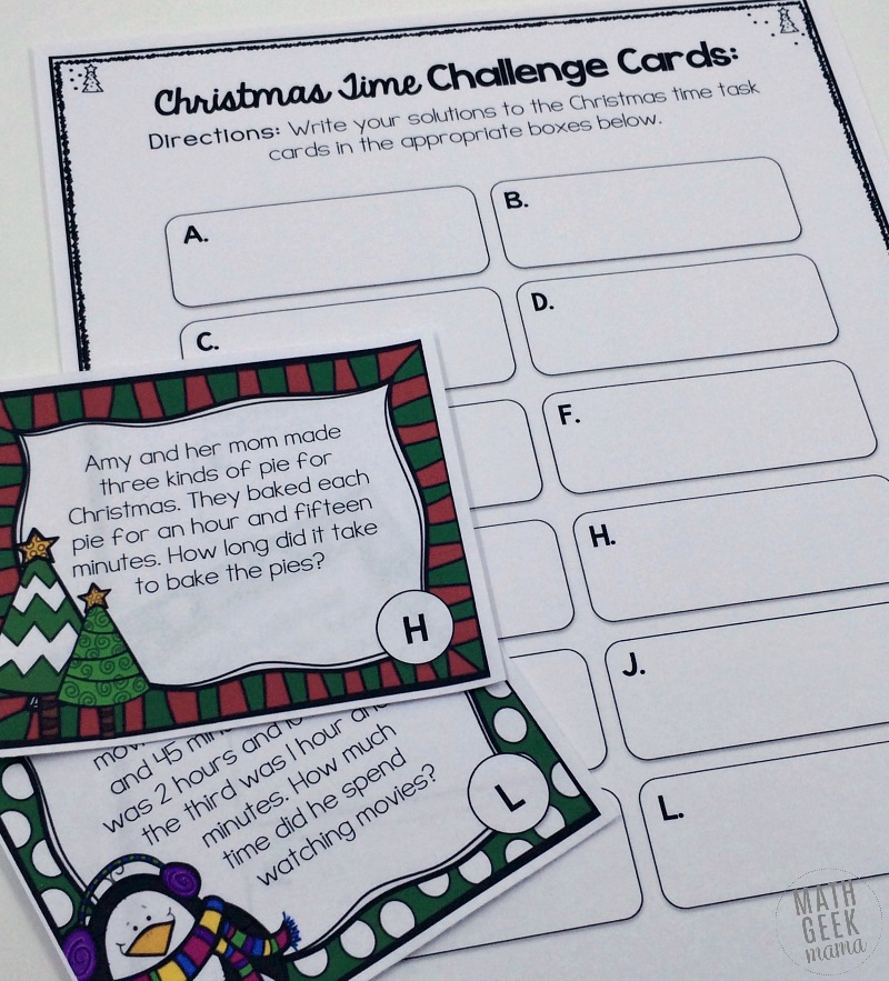 Practice time and elapsed time problems with these adorable Christmas themed task cards. Includes 12 cards with a recording page for answers.