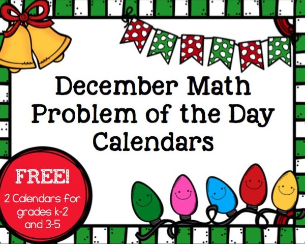 Need a fun and simple way to review important math skills before winter break? Grab these FREE December problem of the day calendars! Includes 2 different versions for grades k-5 for a unique and low prep way to practice skills.