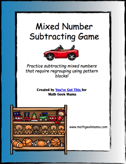 Subtracting mixed numbers is so tricky and can easily cause confusion but this hands on game using pattern blocks will make regrouping mixed numbers fun and simple!