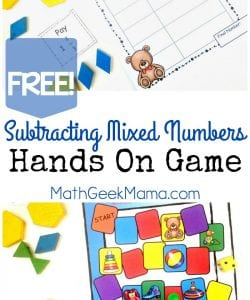 Subtracting Mixed Numbers Printable Board Game {FREE}