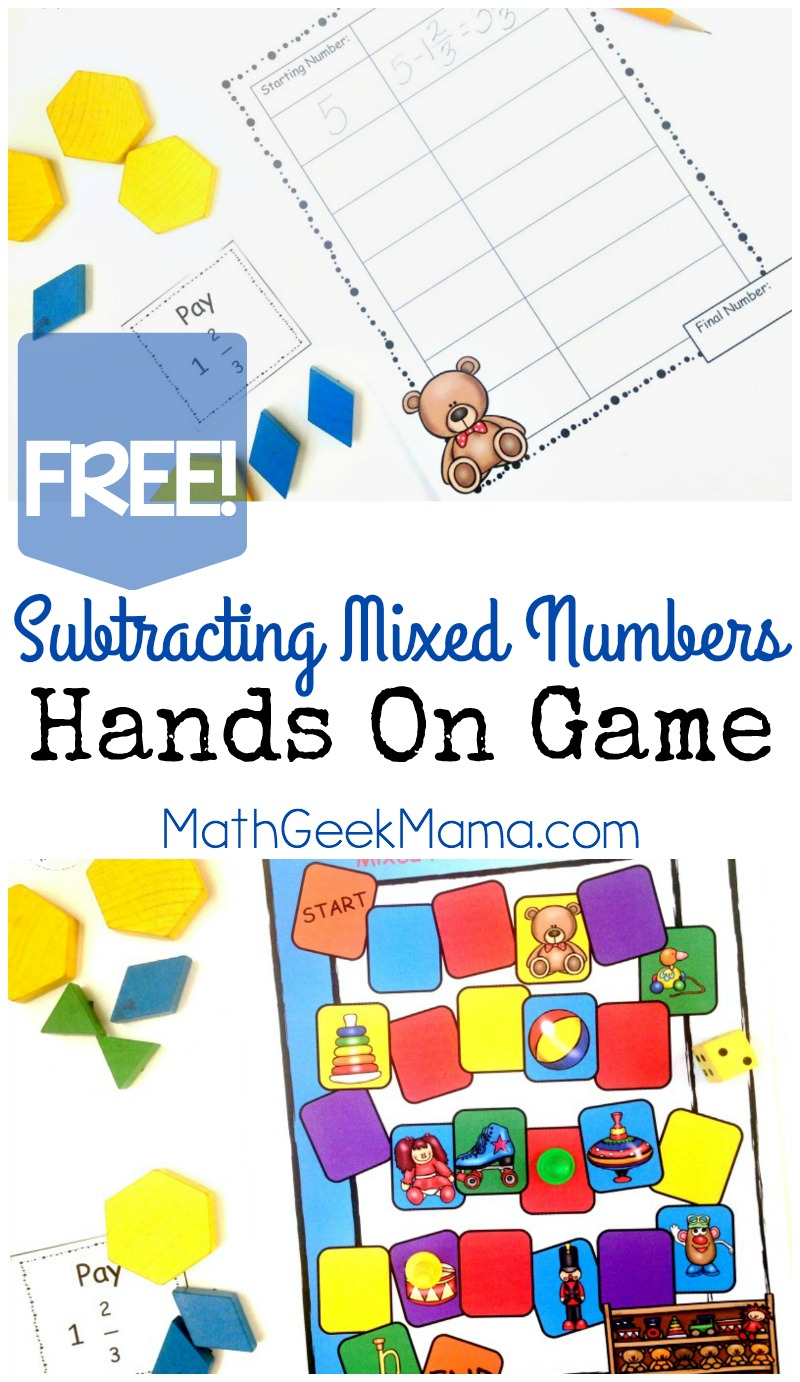 Worksheet Mixed Numbers subtracting mixed numbers game hands on math free is so tricky and can easily cause confusion but this game