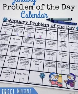 January Problem of the Day Calendars {FREE}