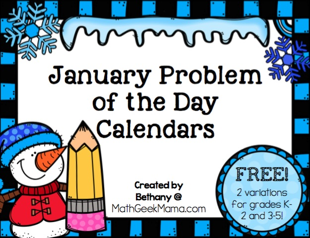 Looking for a fun new way to practice math each day? Try this set of January Problem of the Day Calendars! Each day a new math problem, covering a variety of skils. Includes 2 calendars for grades K-2 and 3-5.