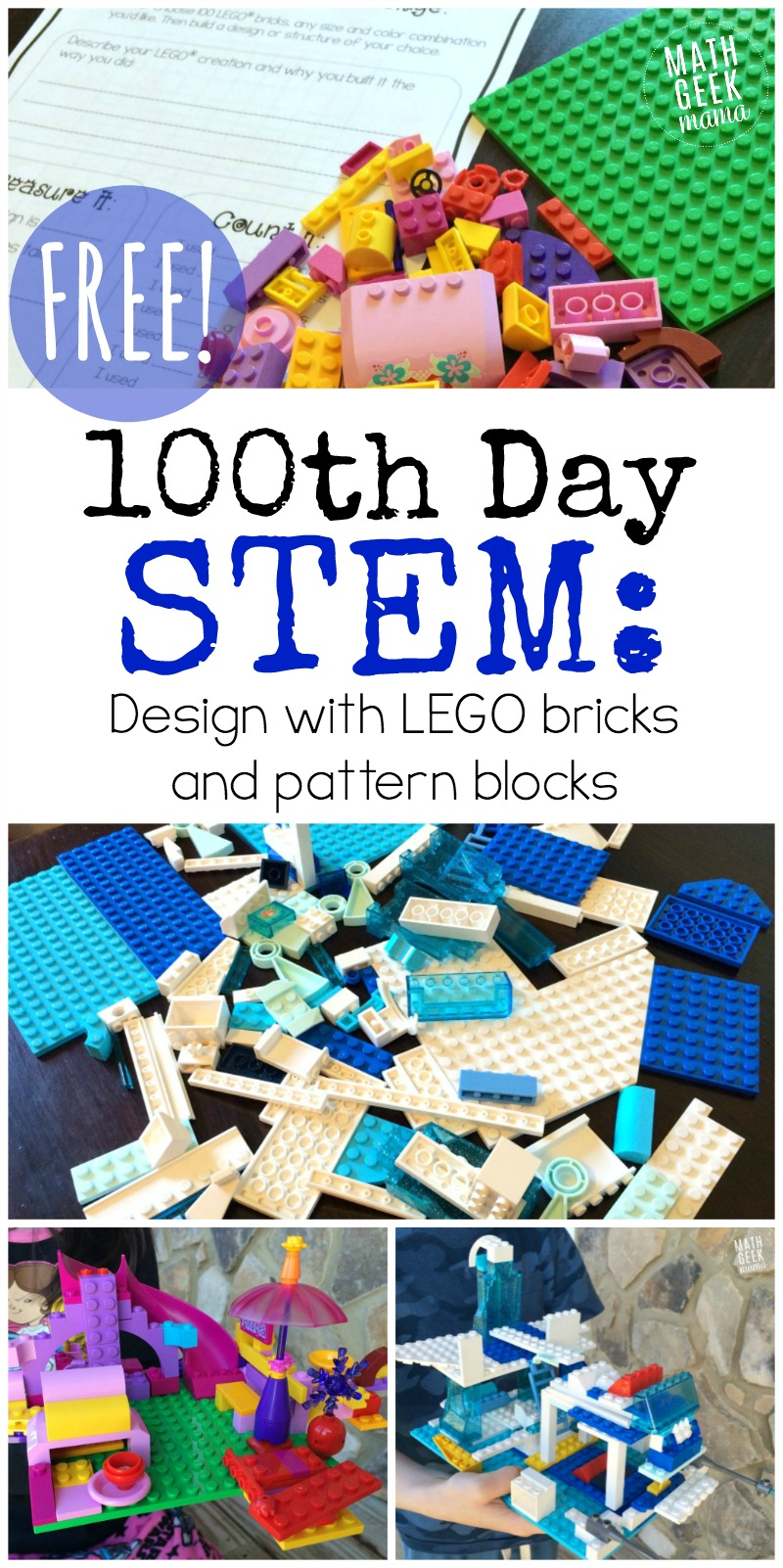 Looking for a fun and engagin STEM challenge for your 100th day of school? This post includes 2 different FREE 100th day of school STEM activities which can be used or adapted for grades K-6. Kids will love the challenge and exploring the math behind the design!