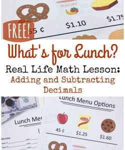 What's For Lunch? An Engaging, Real Life Math Lesson {FREE}