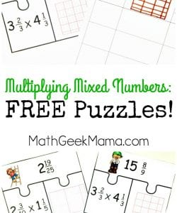 Multiplying Mixed Numbers Activity {FREE Puzzles}