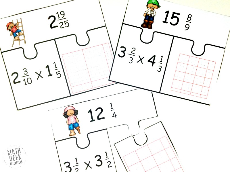 LowPrep Multiplying Fractions Activity FREE Mixed Numbers Puzzles – Multiplying Fractions Using Models Worksheet