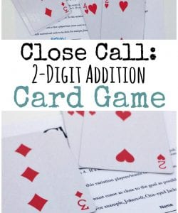 This 2-digit addition card game is a super simple way to practice addition skills, but also encourage problem solving and deepen an understanding of place value. Even though it's simple to set up and play, the math will challenge and strengthen your kids skills.