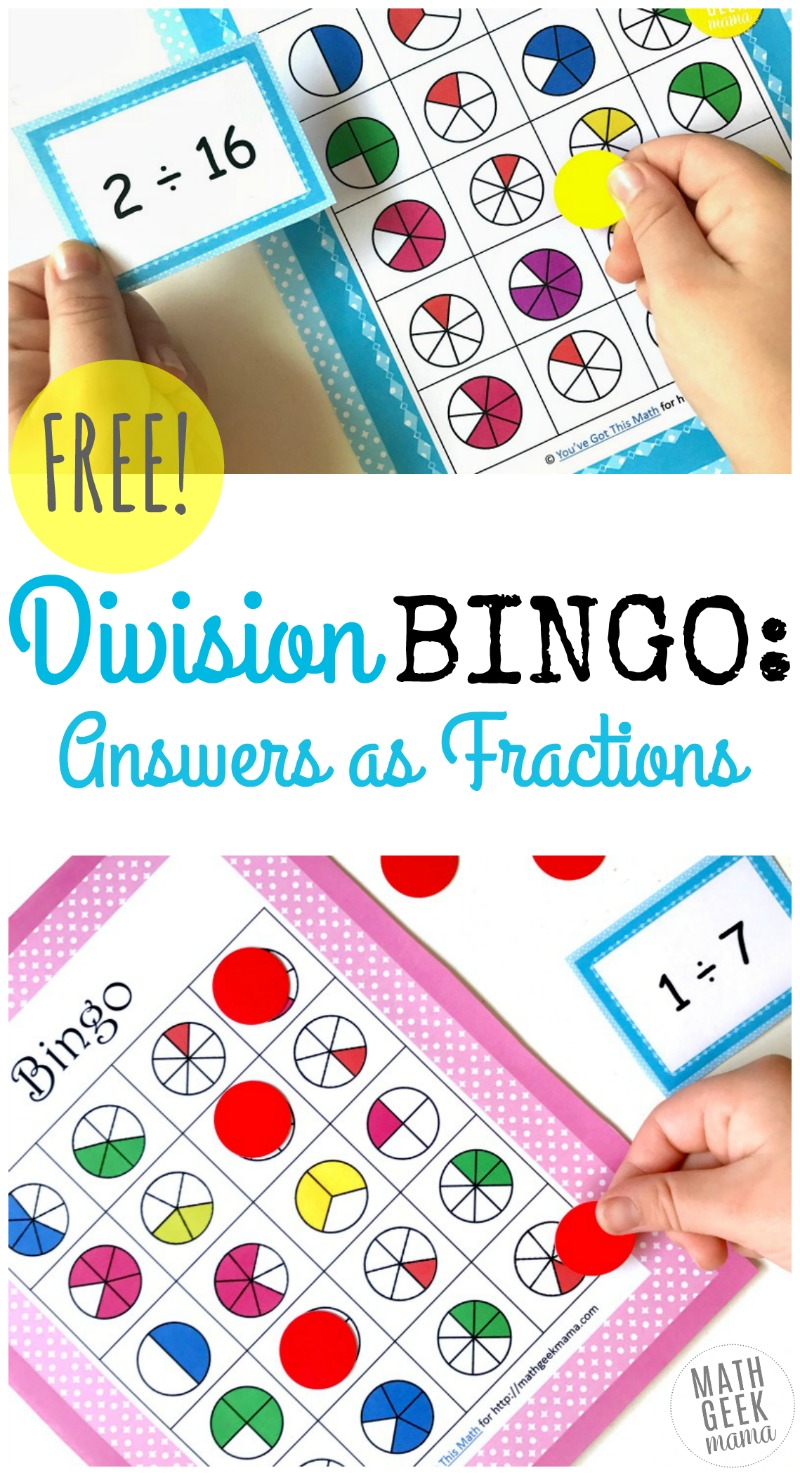 Simple and Fun Division BINGO Game: Answers as Fractions