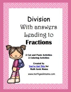 Division of whole numbers with fraction answers cover