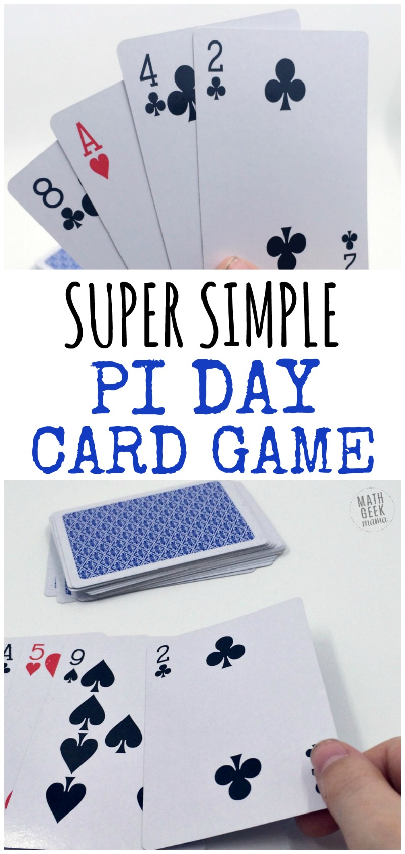 Want a super easy way to have fun with your kids on Pi Day? This Pi Day card game is great because kids of all ages can play together. Plus, there are variations to make it more challenging for older kids. Get excited about the number pi with this easy Pi Day game!