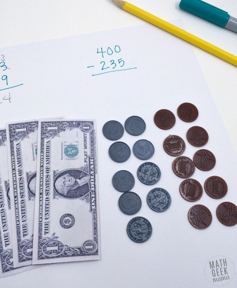 Are you worried about teaching subtraction of large numbers? This post outlines a step-by-step strategy for how to teach subtraction with regrouping. This strategy can be used to teach kids in second grade, or as remediation with older kids. It begins with a concrete, familiar concept before moving to the abstract algorithm we're familiar with.