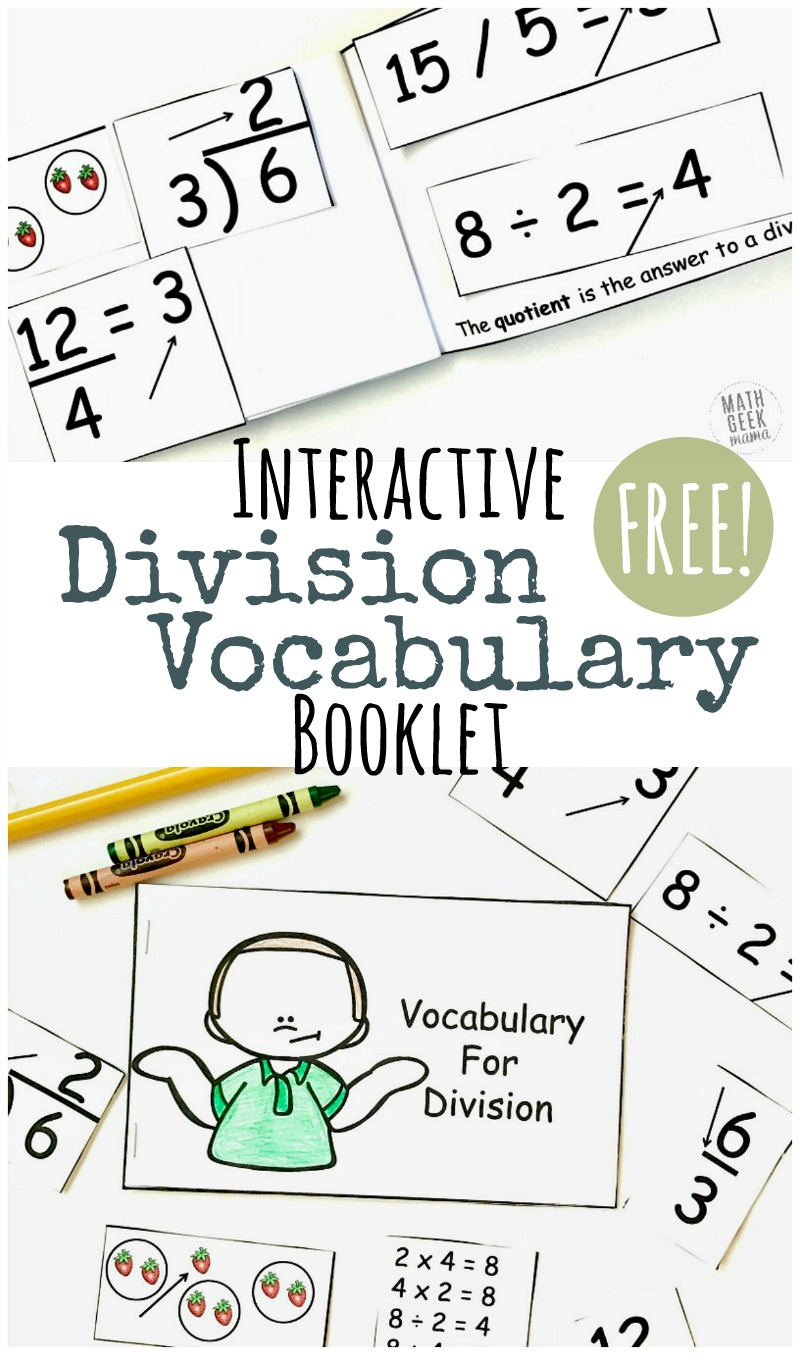 Simple, Interactive Division Vocabulary Booklet {FREE}