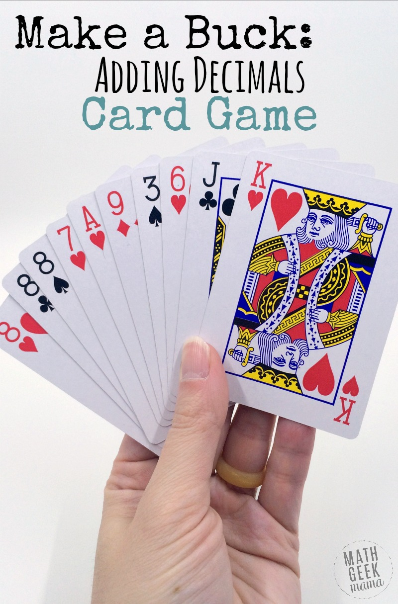 This super simple adding decimals game will give your kids lots of practice with adding decimals, as well as developing their problem solving and mental math skills. Plus, you'll love how easy it is to set up: all you need is a deck of cards!