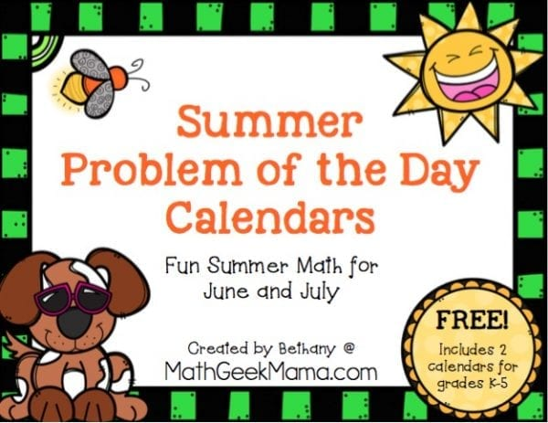 Looking for simple, yet effective way to keep your kids math skills up over the Summer? These problem of the day calendars are sure to be a hit! There are so many ways to use them, and your kids will have fun learning and practicing math during the Summer break. Includes 2 versions for grades K-5!