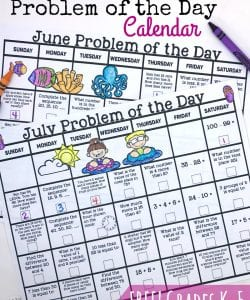 {Free} Summer Math Calendars for Grades K-5