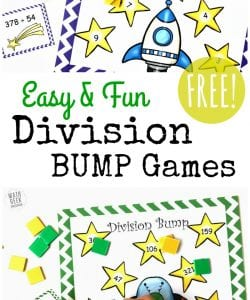 Looking for a new set of printable division games? These BUMP games are sure to be a hit, and a fun way to practice long division skills. The FREE download includes 2 low prep games!