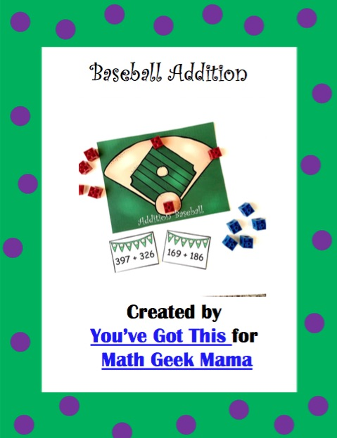Need to work on adding large numbers? This baseball themed 3-digit addition game is such a fun way to practice skills, work on mental math or just get out of the normal routine. Perfect for your game time math center!
