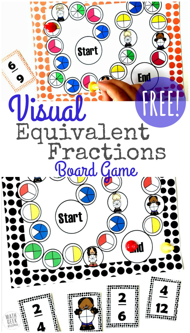 photograph regarding Printable Board Games referred to as Visible Identical Fractions Recreation Printable Free of charge
