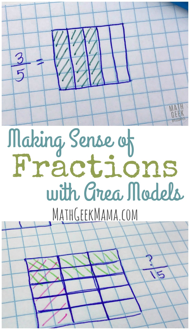 "Help your kids make sense of fractions using area models! This provides such a helpful visual so kids can really ""see"" the concepts. Learn more in this helpful post!"