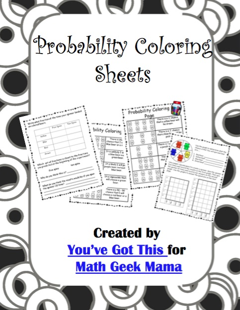 Introduce your kids to probability in a fun and easy way with this cute set of coloring probability worksheets. These are great for grade 4 and up.