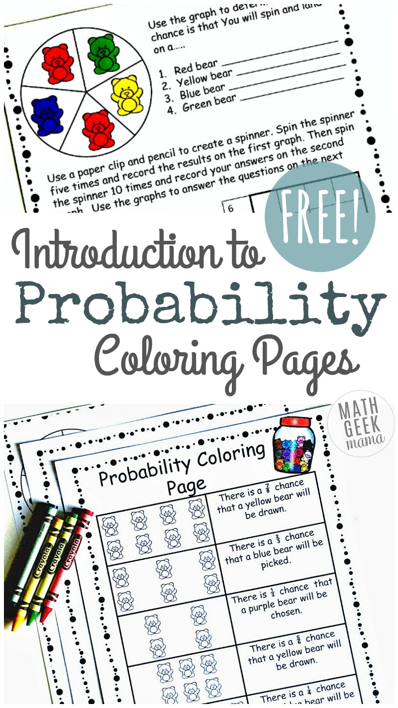 worksheet 6th Grade Probability Worksheets simple coloring probability worksheets for grades 4 6 free introduce your kids to in a fun and easy way with this cute set of