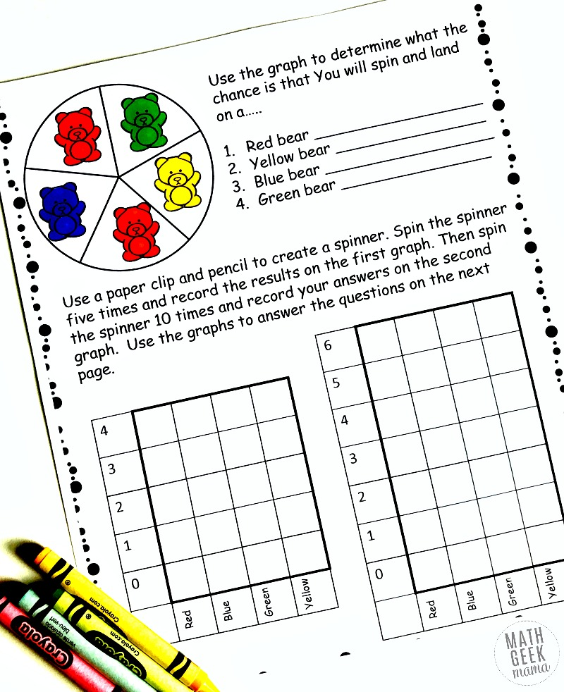 Simple Coloring Probability Worksheets for Grades 4-6 {FREE}