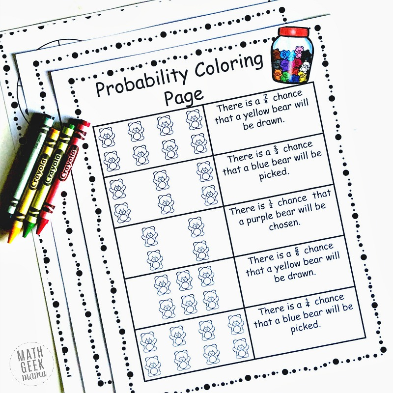 Simple Coloring Probability Worksheets for Grades 46 FREE – Free Probability Worksheets