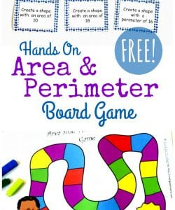 Hands On Area and Perimeter Game {FREE Printable}