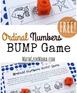 Looking for some quick and easy practice with ordinal numbers? This simple BUMP game is perfect for partner practice or a math center for your kindergarteners or first graders.