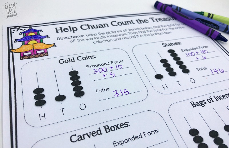 """These fun and low prep learning activities are a great way to extend the learning with the book, """"The Warlord's Beads."""" Teach kids about place value and large numbers and ancient China with this cute math storybook."""