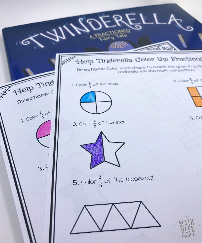 Low Prep Fraction Coloring Pages With Twinderella