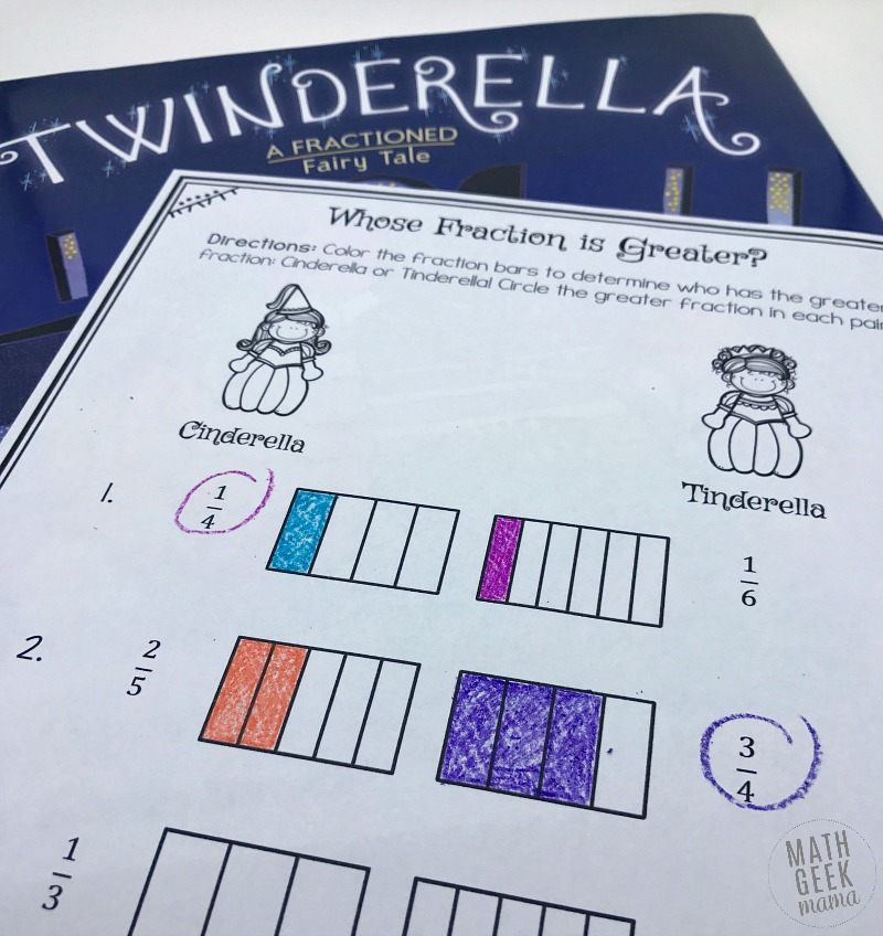 Twinderella Fraction pages - Math Geek Mama