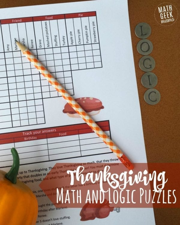 Looking for a fun, yet challenging set of puzzles this Thanksgiving? How about this set of Thanksgiving math puzzles? Includes a fun grid puzzle plus 2 Thanksgiving themed sudoku puzzles PLUS answer keys for all pages!