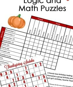 Fun Thanksgiving Math & Logic Puzzles {FREE}