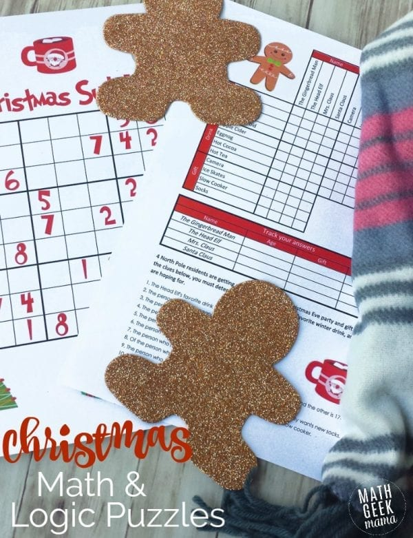 Keep your kids' brains sharp this holiday season with fun, yet challenging Christmas math puzzles! This FREE download includes 3 different math and logic puzzles that will help your kids develop their logical reasoning skills, while getting in the holiday spirit.