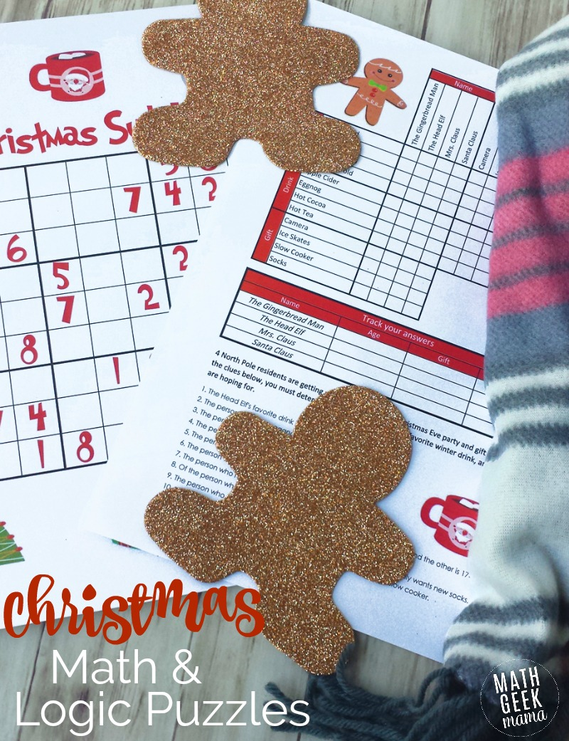 picture about Christmas Sudoku Printable titled Xmas Logic and Sudoku Puzzles - Math Geek Mama