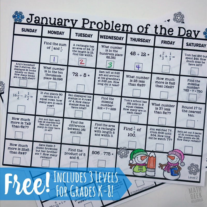 January 2018 Math Problem of the Day Calendars
