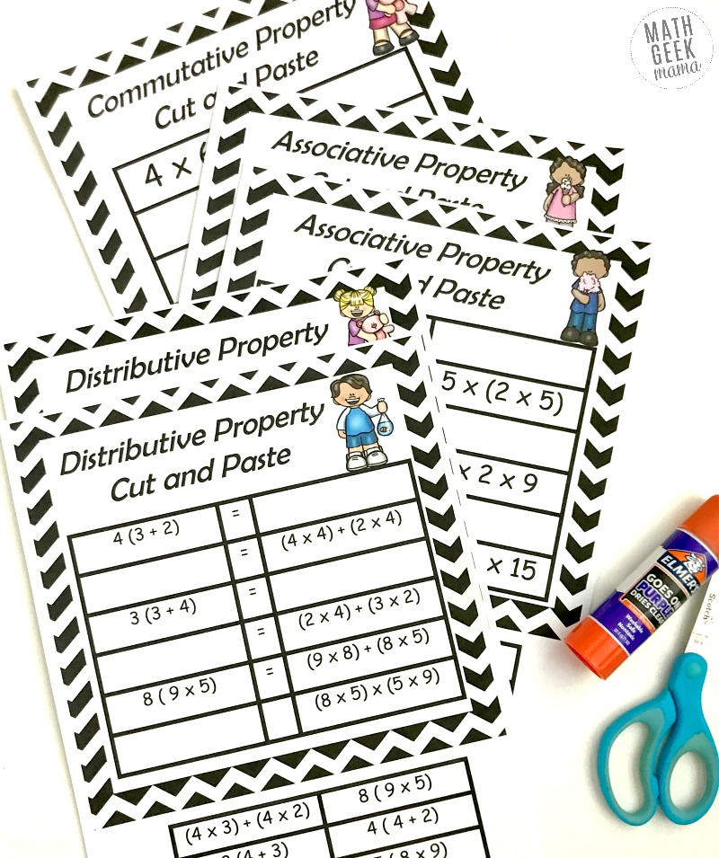 Help your kids make sense of the properties of multiplication with these super easy and low prep cut and paste pages! Includes practice with the commutative property, associative property and distributive property. This simple set is free!