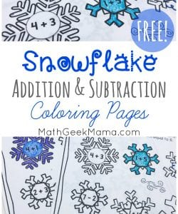 Want a cute and fun way to practice addition and subtraction facts to 10? These snowflake coloring pages are a great introduction to a discussion of patterns, composing and decomposing numbers and more. Get them FREE!