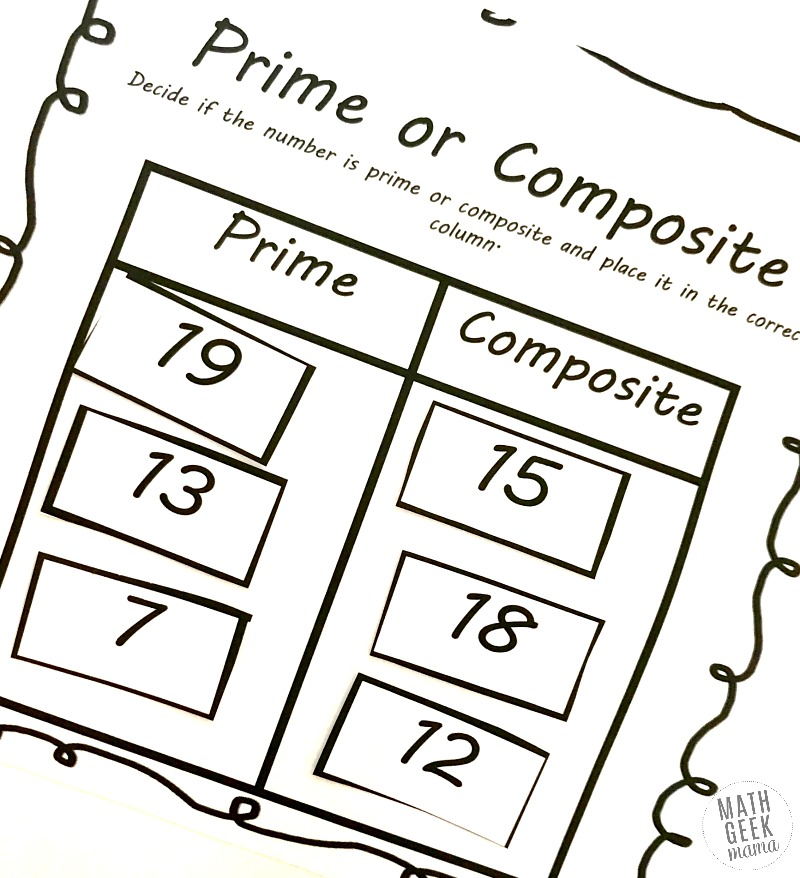 Prime and Composite Numbers Worksheets: {FREE} Activity Pack