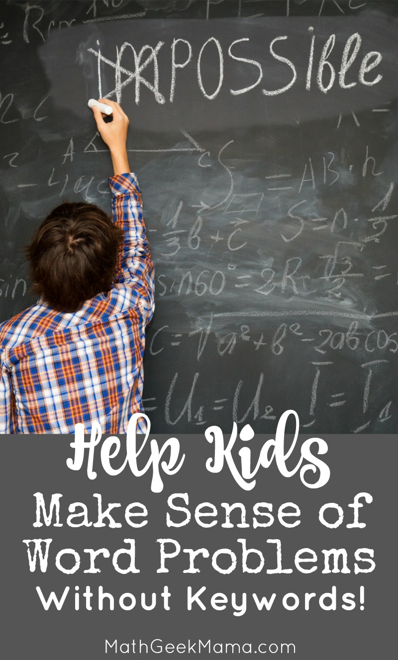 Do you teach your kids to rely on keywords as they solve word problems? Do they still struggle? This post explains the problem with relying on keywords to solve word problems, plus ideas to help kids make sense of problems. Plus, it includes a set of free printable templates!