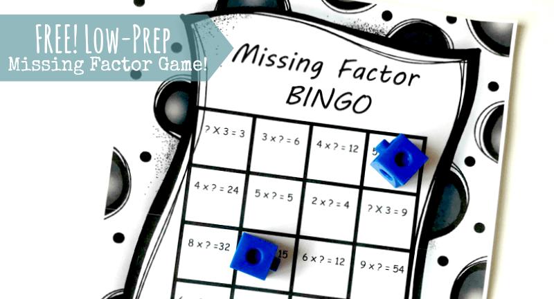Free Missing Factor Bingo Game Fun Multiplication Challenge