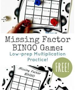 Want to deepen your kids' multiplication skills? Challenge them with this fun and FREE Missing Factor Game! This will help review facts, make the connection to division and prepare them for Algebra in the future!